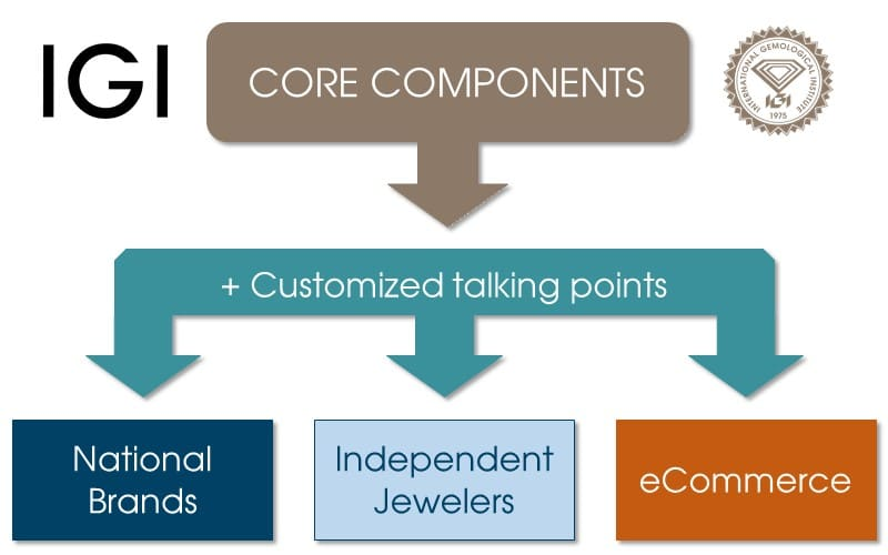 Diagram of core components of IGI's eLearning lessons
