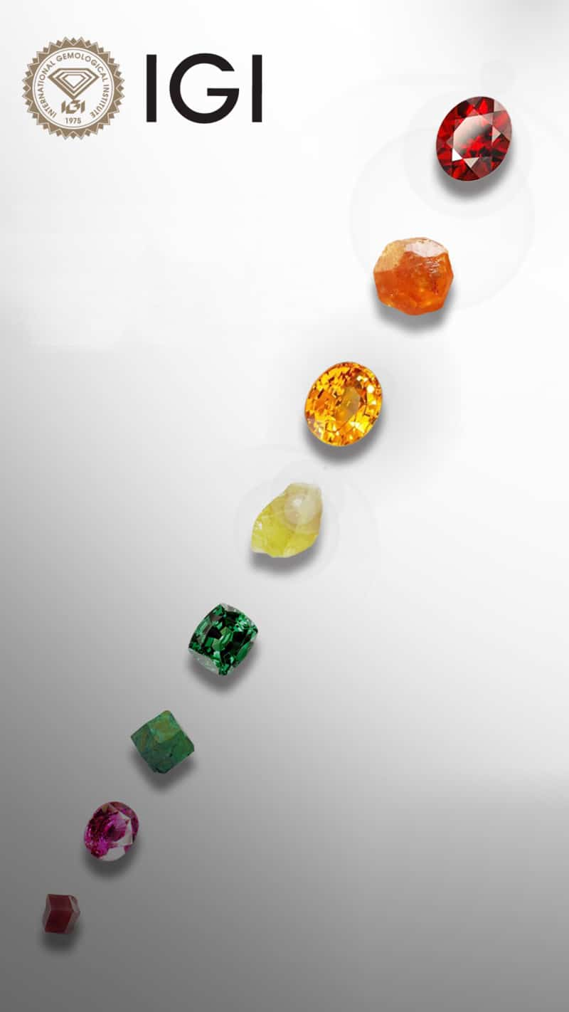 IGI post displaying the many colors of garnet gemstones