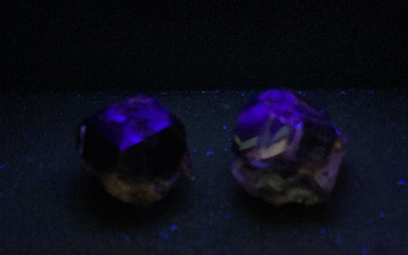 black lab grown diamonds under ultraviolet light