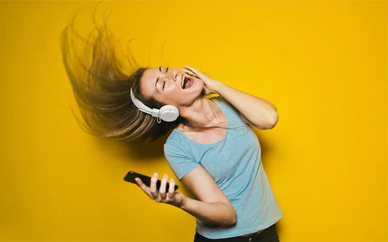 Girl rocking out