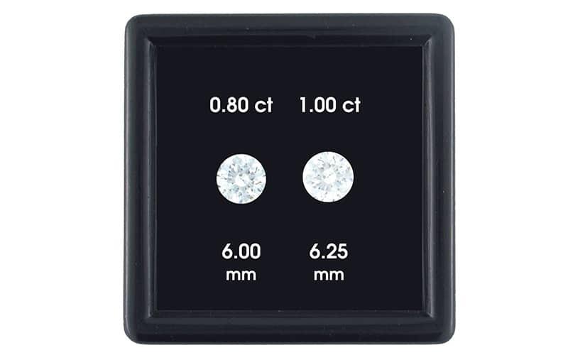 .80 carat diamond vs 1.00. carat diamond under bright light