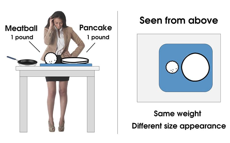 diagram showing the size appearance of a meatball and pancake of the same weight