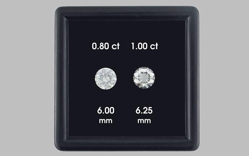 .80 carat diamond vs 1.00. carat diamond under normal lighting