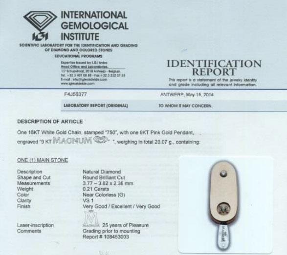 IGI Certifies Magnum® Ice Cream Pendant